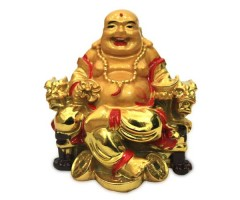 6 Inches Polystone Golden Laughing Buddha