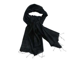 Black raw silk stole