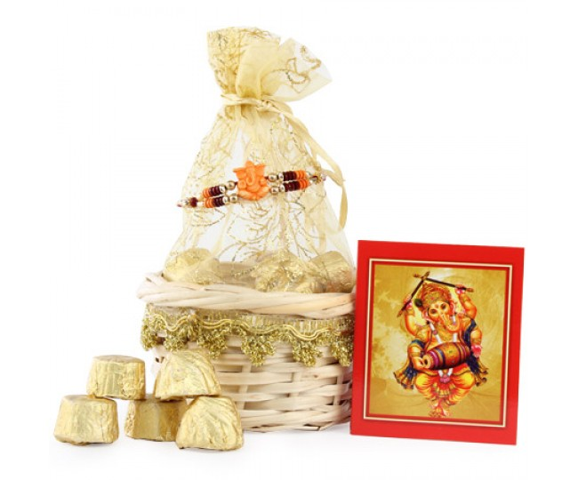 Golden Chocolate Rakhi Treat
