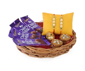 Pearls Rakhis With Chocolates