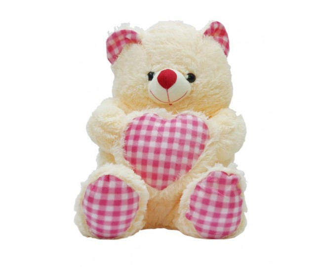 A-Maze Pink & Cream Teddy Bear W/Heart-79 cm