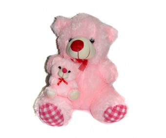 Arc Cute Pink Teddy Bear with Baby Soft Toy