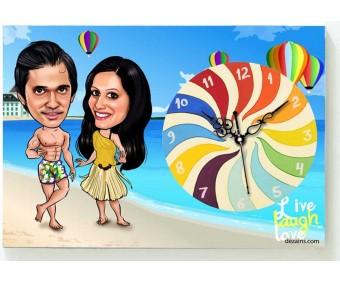 Beach Couple - Caricature Canvas Clock