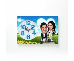 Chained in Love - Caricature Canvas Clock