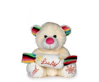 Cream Coloured Teddy Bear With Good Luck