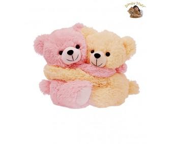 Dimpy Stuff Light Pink & Cream Bear Couple Soft Toy-20 cm