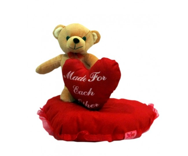 Valentine Teddy Standing On Heart (28 cm)