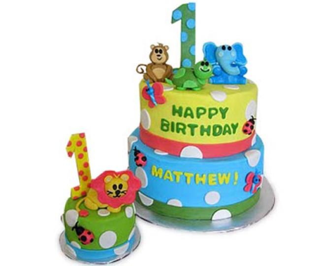 2 tier Baby Animals Cake