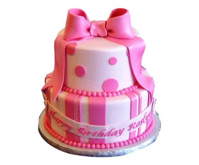 2 tier Cute Pink cake 3kg