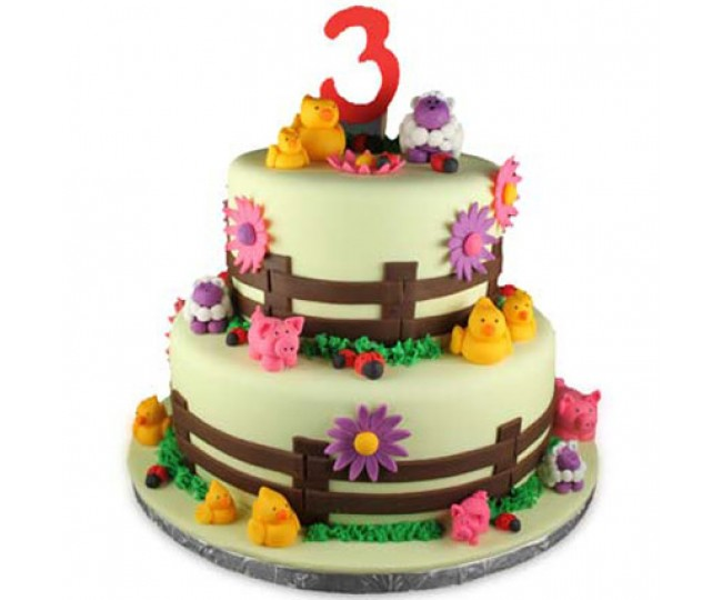 2 tier Farm Animals cake 3kg