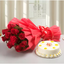 Red roses with half kg butterscotch cake combo