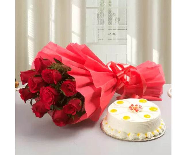 Red Roses & Half kg butterscotch cake combo