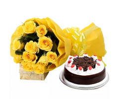 Perfect Combo Half kg black forest cake and Flower boquet
