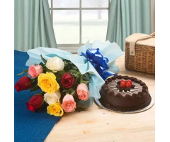 Roses and half kg Chocolate Truffle cake Combo