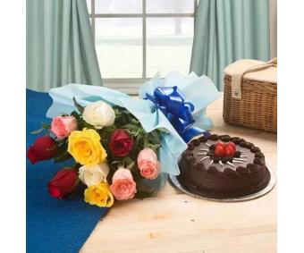Roses and half kg Chocolate Truffle cake Combo