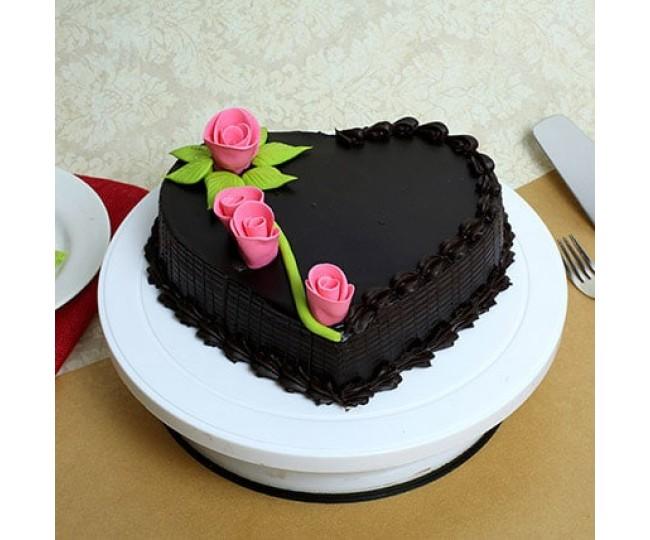 Creamy Heart Truffle Cake