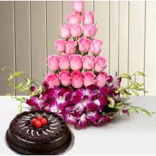 Hugs N Kisses flowers and cake combo