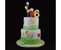 3 tier cartoon cake and flower 4kf