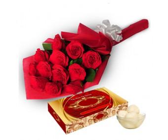 Roses with Rasgulla-Diwali
