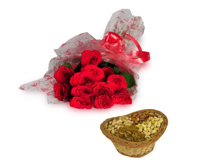Roses with dryfruits-Diwali