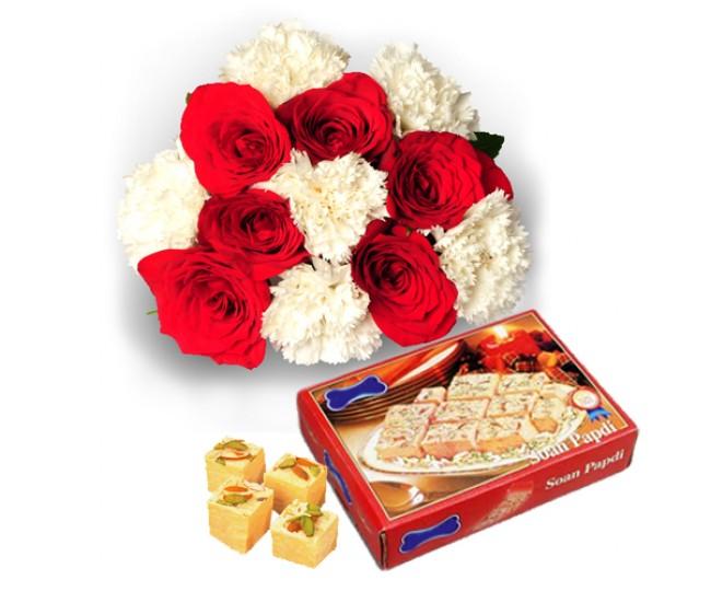 Flowers with 1kg Sone Papri-Diwali