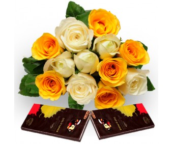 Roses with Dark Chocolate-Diwali