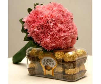 Spring Winds - Pink Carnations with Ferrero Rocher Chocolate box