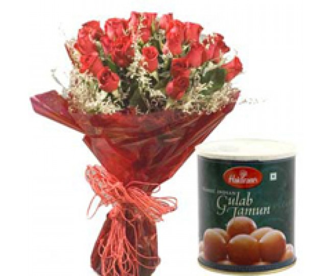 Lover's Elegance - Exclusive Red Roses with 1 kg Gulab Jamun