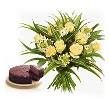Chocolaty Grace - Yellow Roses and half kg Chocolate cake