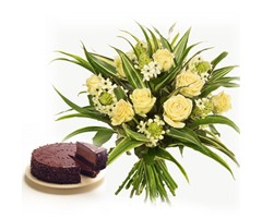12 Yellow Roses & Half Kg Chocolate Cake in pondur