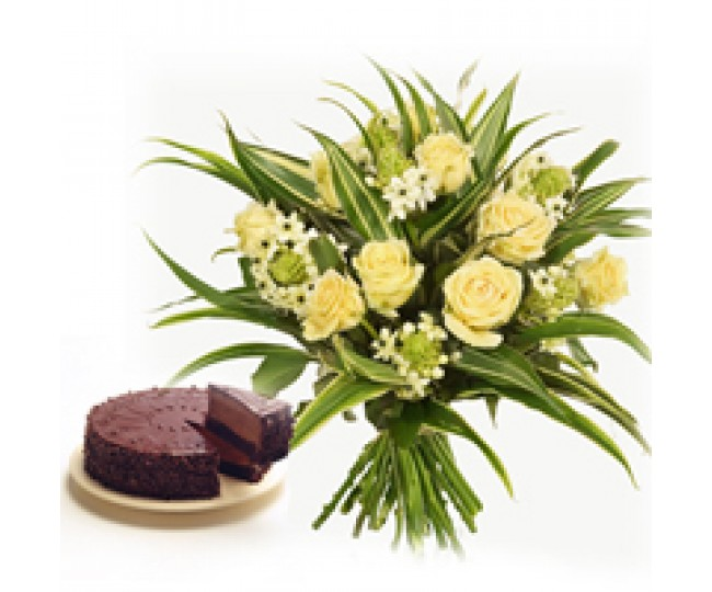 Chocolaty Grace - Yellow Roses and half kg Chocolate cake