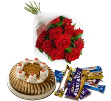 Happiness Bouquet - Red Roses, Chocolate and Half kg blackforest cake