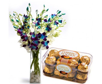 Admirer - Blue and purple or white Orchids with Ferrero Rocher