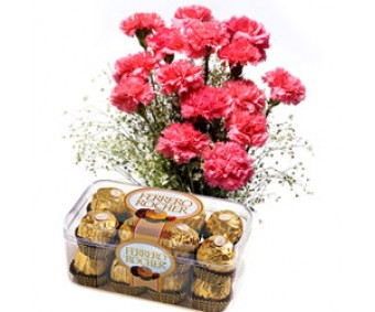 Supernova Pink - Pink Carnations with Ferrero Rocher