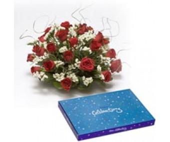 Roses N conveys - Red Roses and Cadbury celebration box