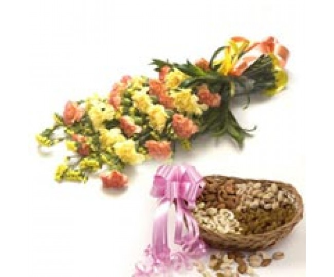 Wishes - Pillow and Yellow carnations with Dry Fruits in cane a box