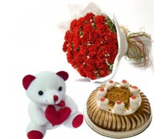 Carnation of Paradise - Red Carnations, Teddy and Half kg butterscotch cake