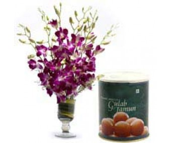Exotic Beauty - Purple Orchids and Gulab jamun