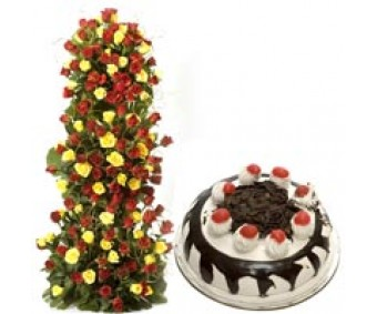 Unlimited Love - Red-Yellow Roses 1 kg Black Forest Cake