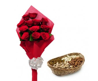 Best wishes for you - Red Roses and 250gm Mixed Dry Fruits