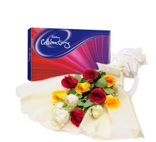 Colorful Celebration - Bunch of Roses with Cadbury celebration Chocolate