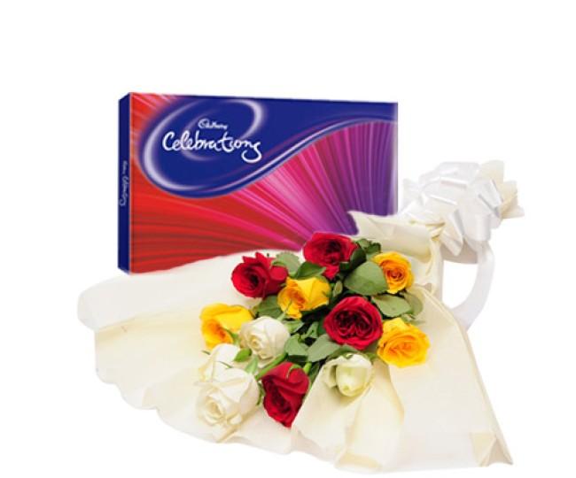 Colorful Celebration - Bunch of Roses with Cadbury celebration Chocolate