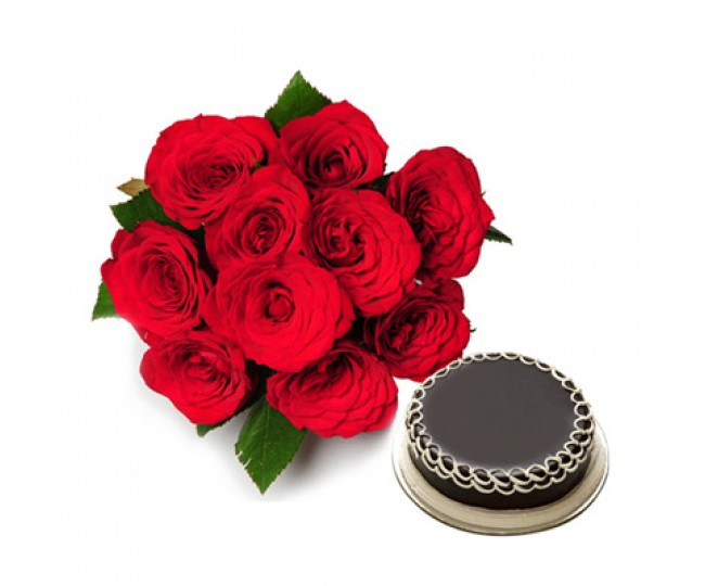 Red Roses with Half kg Chocolate Cake