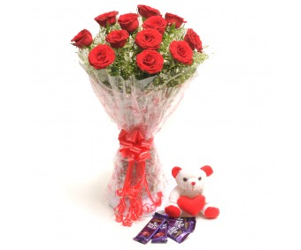 Perfect Love - Red Roses boquet with Small Teddy and chocolates