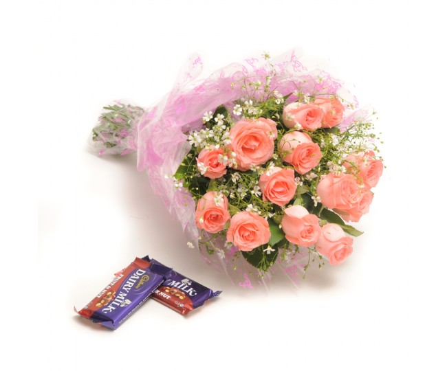 Sweet Elegance - Baby pink roses with Chocolates