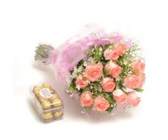Simple Elegance - Baby Pink Roses with Ferrero Rocher