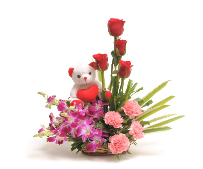 Sweet Inspiration - Roses Bouquet with Teddy