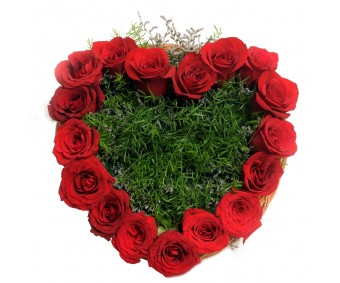 Heart Shape Roses arrangement