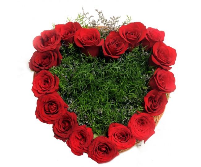 Heart Shape Roses arrangement