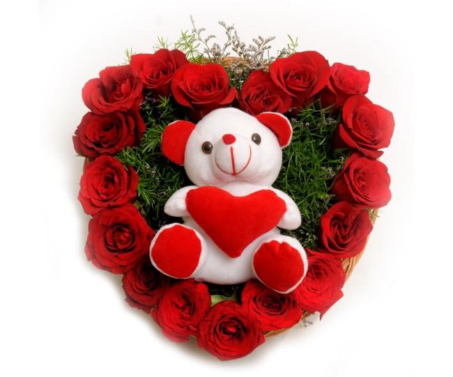 Hear shape Roses Arrangement with Teddy
